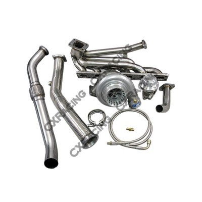 Top Mount T3 GT35 Turbo Kit Manifold Downpipe For 92-98