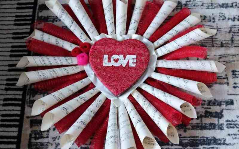 LOVE Sheet Music Wreath