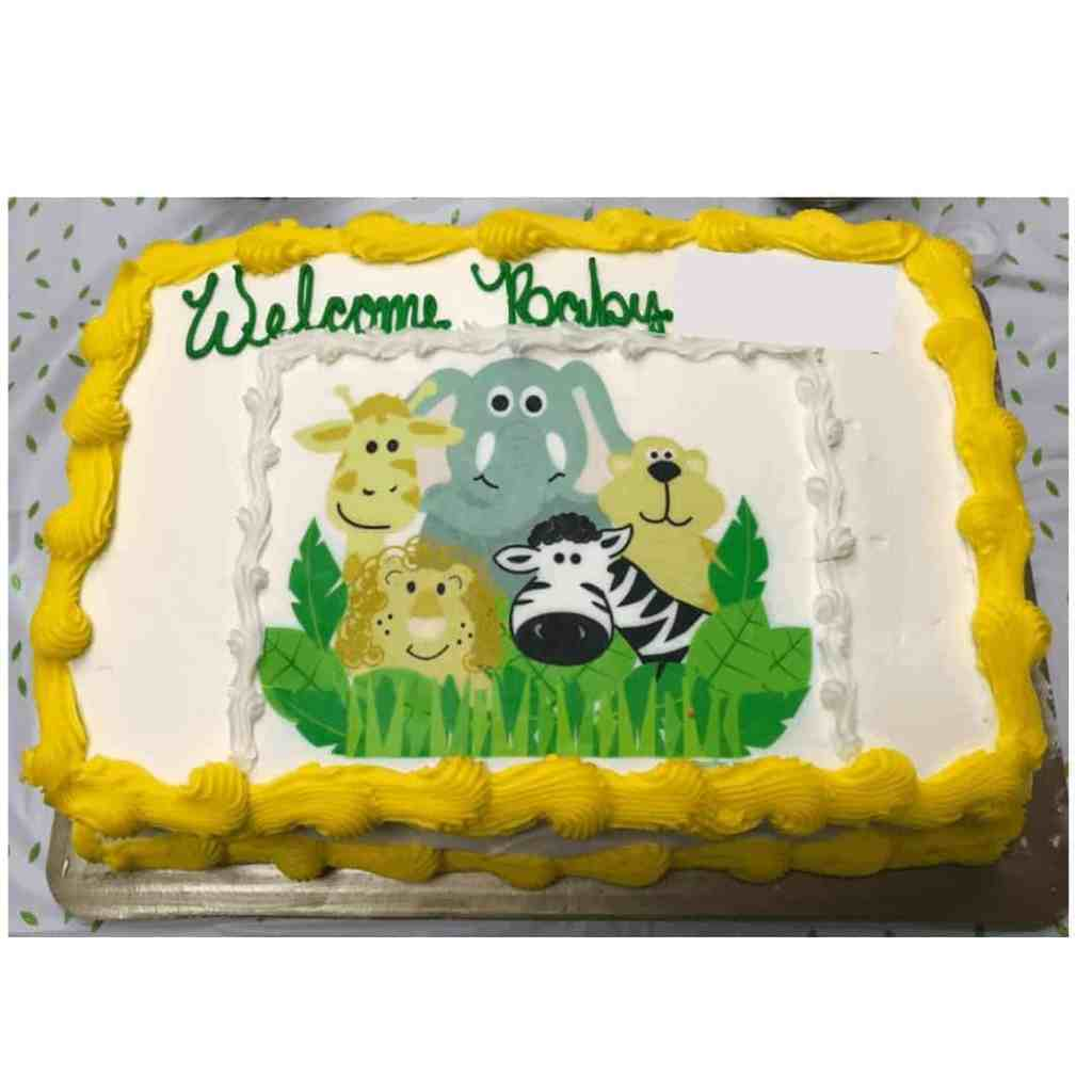 Baby Shower Jungle Themed Cake https://www.b4andafters.com/Baby-Shower-Favors