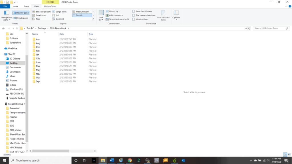 digital monthly file folders