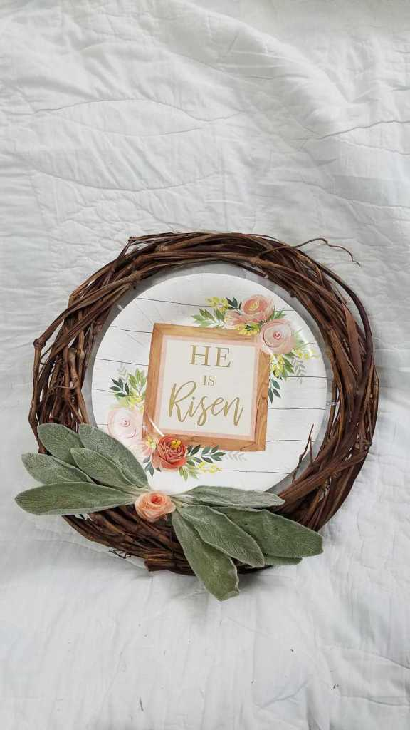 grapevine wreath with too large of leaves attached