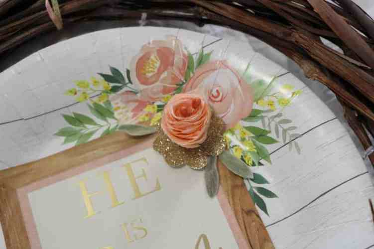 paper plate with flower added