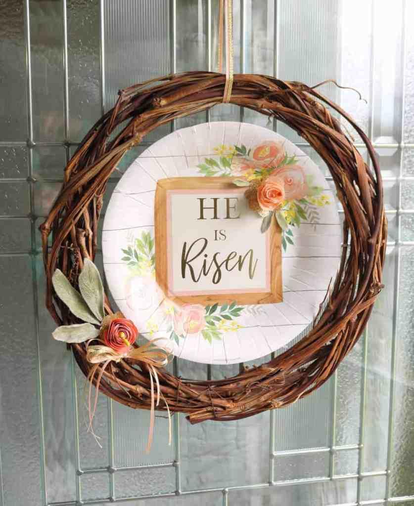 grapevine wreath He is Risen Easter wreath