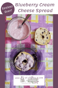 bowl of blueberry cream cheese spread with a plain bagel slice, and another bagel slice that has the cream cheese spread on it