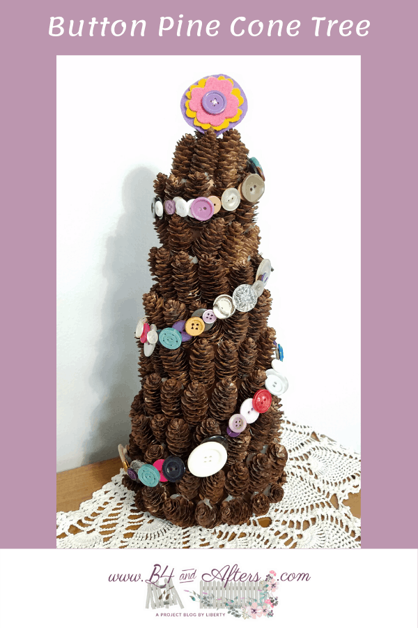 Button Pine Cone Tree graphic for Pinterest