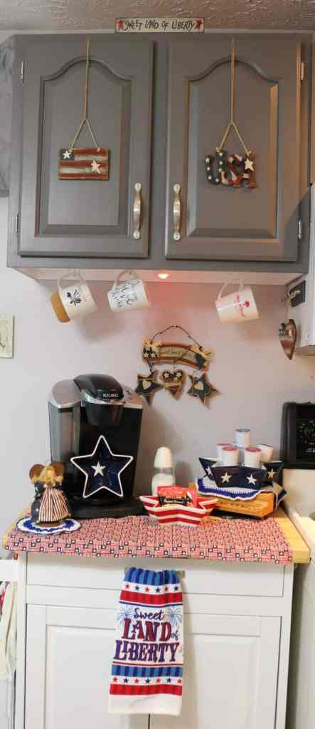 patriotic decorated kitchen coffee station