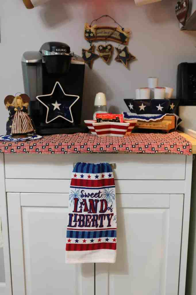closeup of coffee station area decorated for the fourth of July