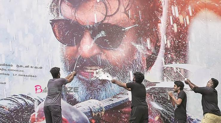 Fans paal abhishekam for Rajinikanth cut out