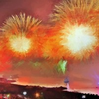 Bright Fireworks Over a City