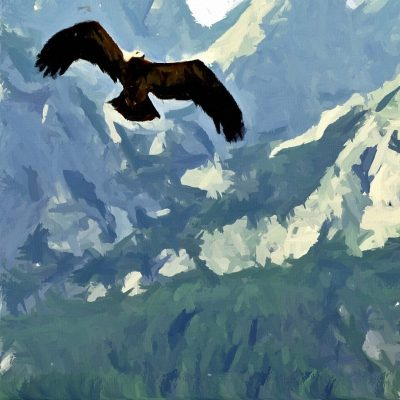 Eagle Soaring Over Mountains