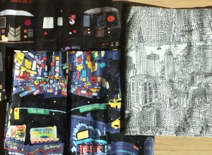 Fabric from The City Quilter: subway, times square and skyline.