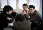 Francesco Carril, Vito Sanz, Jonás Trueba y Luis Miguel Madrid durante el rodaje de Los Ilusos. Foto: Eva Contreras (22.11.2011)