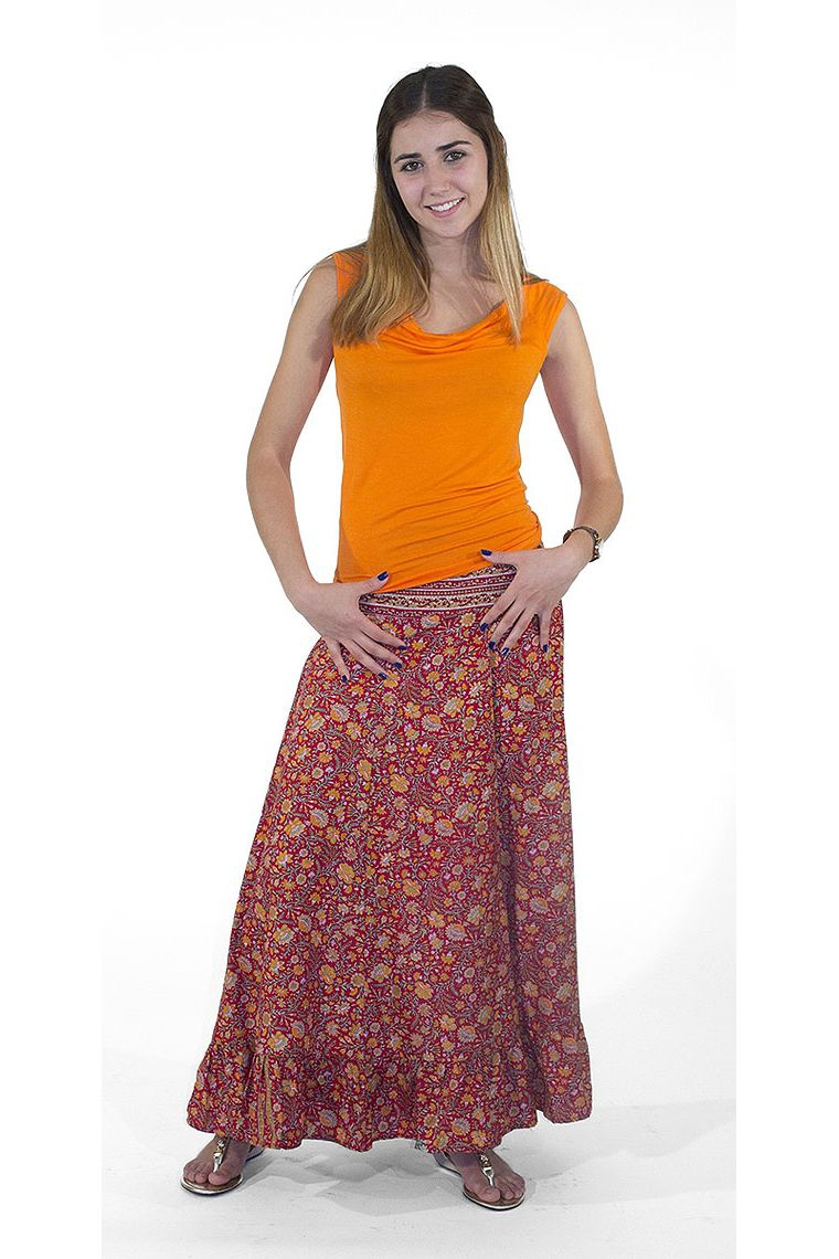 Jupe longue faon sari longue  volants en bas
