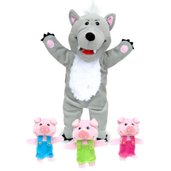 Big Wolf w/ 3 Little Pigs Hand Puppet set