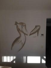 Schuhschnabel. Michel & Friends Hotel Hodenhagen 2018. Gesprühte Illustration-jedes Zimmer mit individueller Gestaltung. Spraypainted illustration, every room with a customized topic.