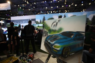 Live Spraypainting/Graffiti Art on framed canvases at the stage for SONY PlayStation, Gamescom, Cologne 2016