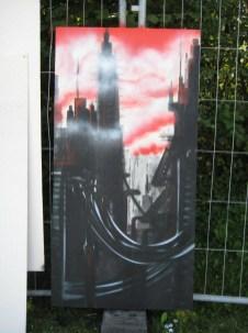 Skyline, Bienne, Biel Switzerland 2008, spraycan on wood, 40 x 100 cm.