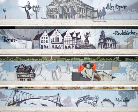 """KOMBO - Die vierteilige Bildkombo zeigt am 14.08.2015 am Busbahnhof vom Flughafen in Frankfurt am Main (Hessen) Teile einer 360 Meter langen Mauer mit Graffitis von verschiedenen Frankfurter Wahrzeichen, erstellt von Künstler Helge """"Bomber"""" Steinmann. Um den Busbahnhof aufzuwerten und den dort wartenden Reisenden ein besonderes visuelles Erlebnis zu bieten, wurde die Mauer im Graffiti-Stil verschönert. Foto: Christoph Schmidt/dpa +++(c) dpa - Bildfunk+++"""