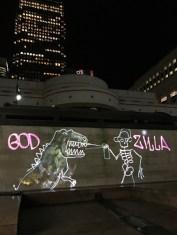 God Zilla Luma Paint Public Light Graffiti as Lightpainting, London Winter Lights, Canary Wharf, 2017