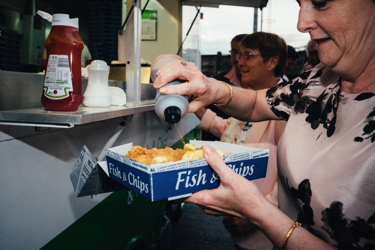 Traditional fish & chips seaside wedding