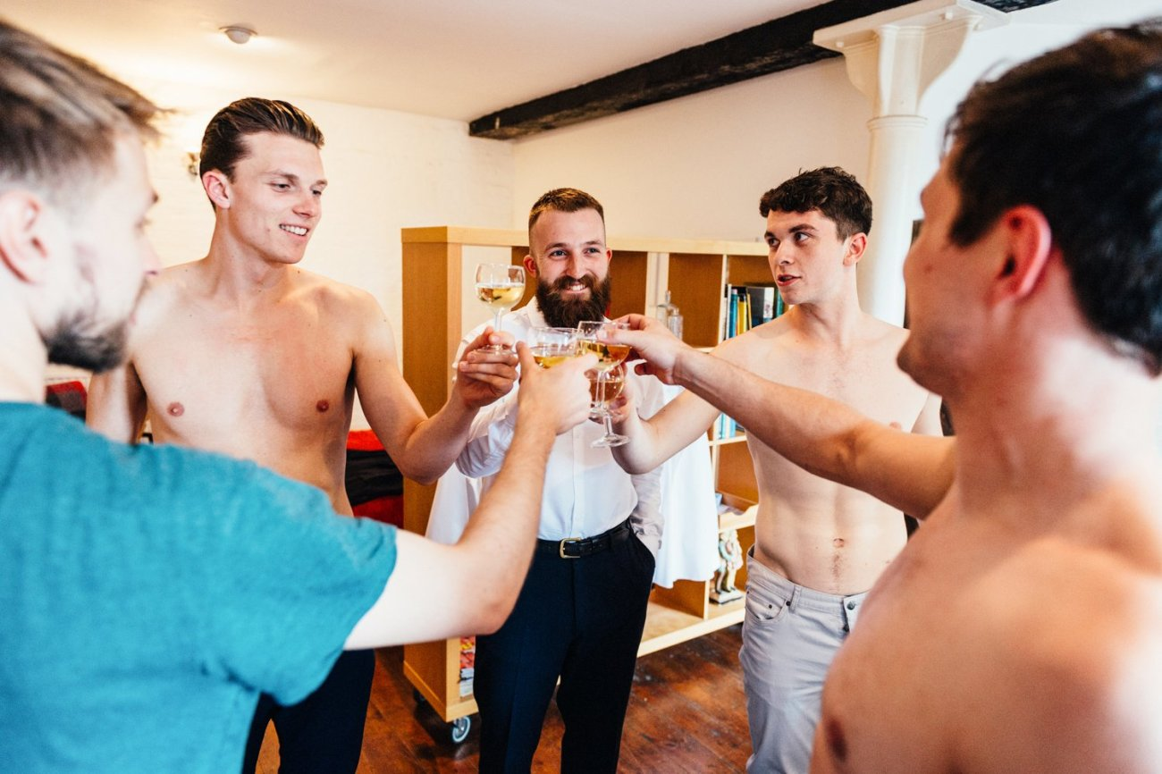 Men drink pre-wedding, London
