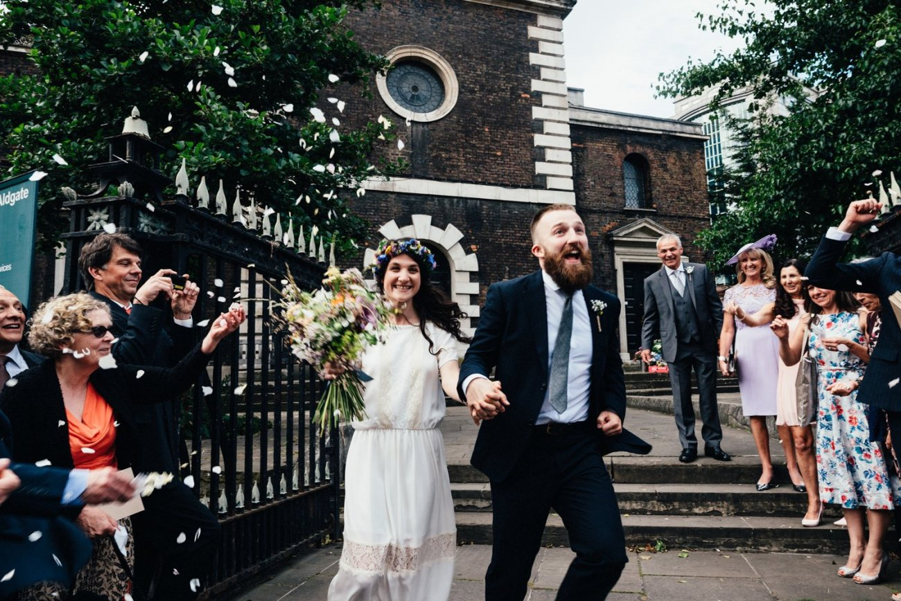 Bride & Groom confetti shower London