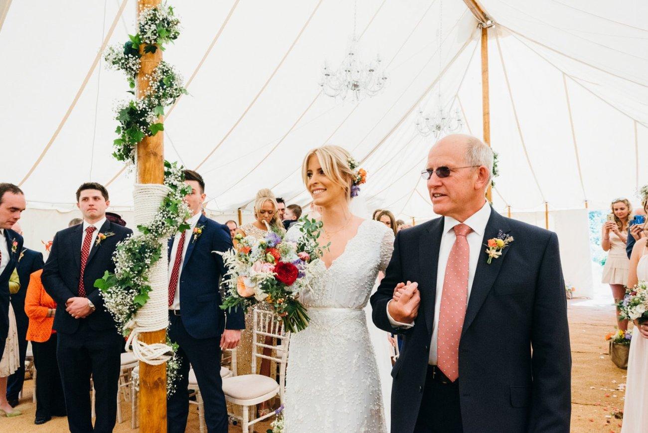 Boho bride & father at Tipi wedding