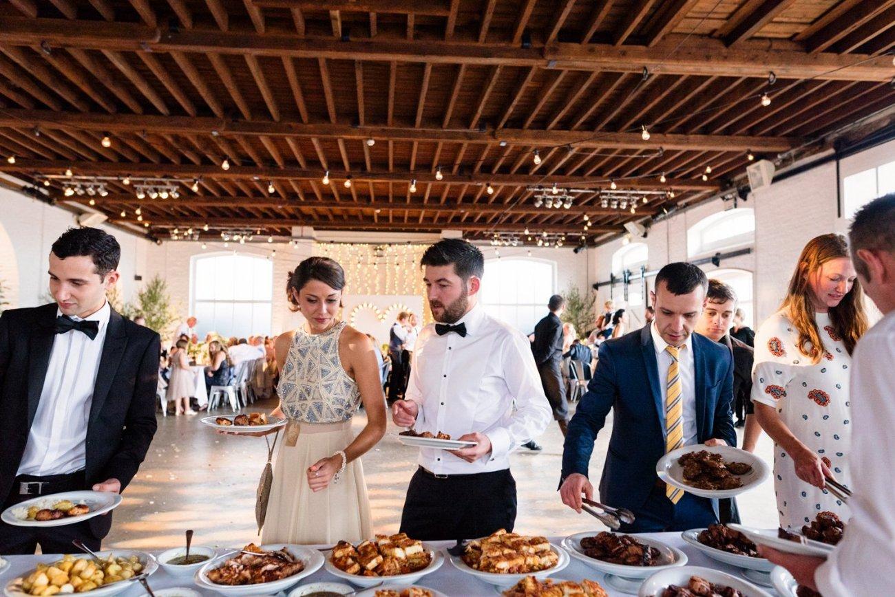 Warehouse wedding buffet