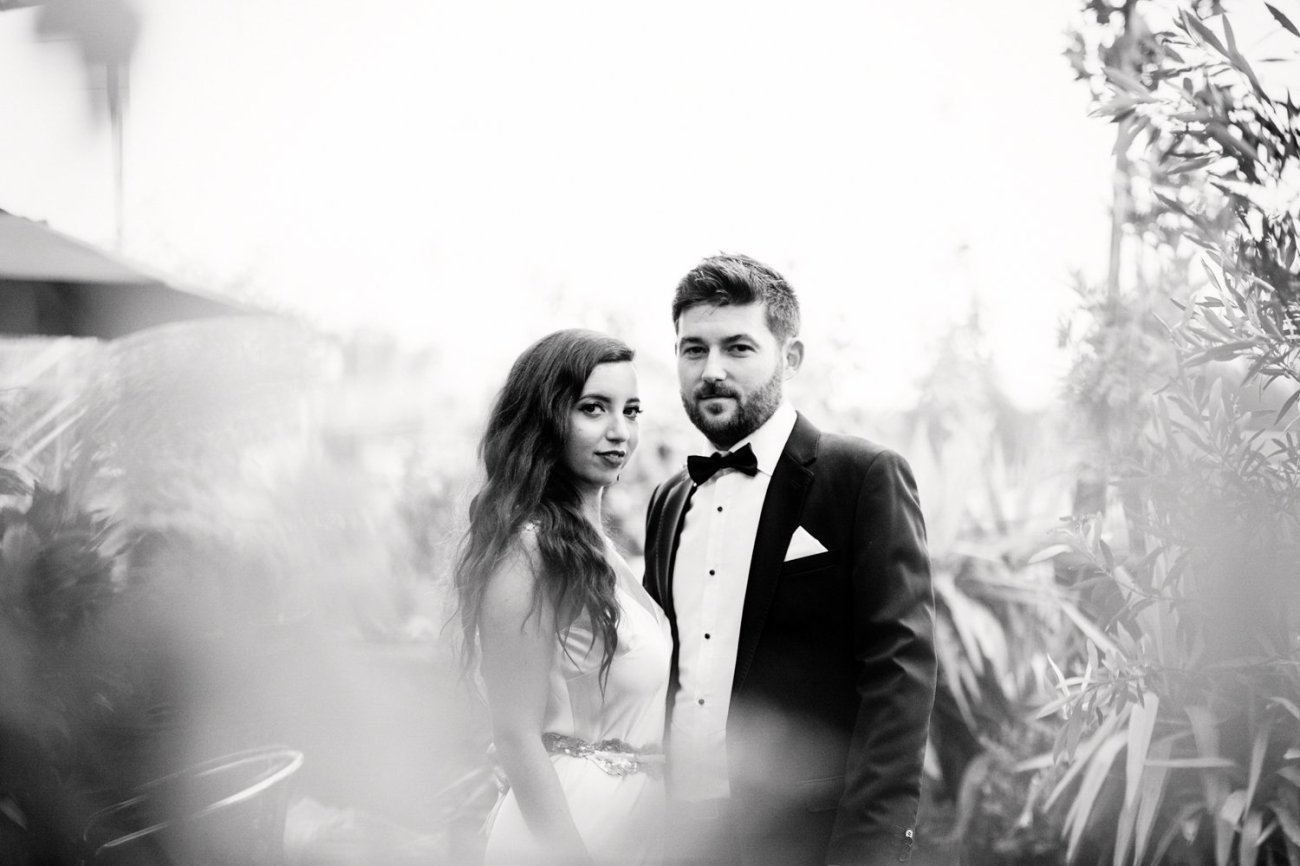 Black and white portrait of wedding couple at Trinity Buoy Wharf
