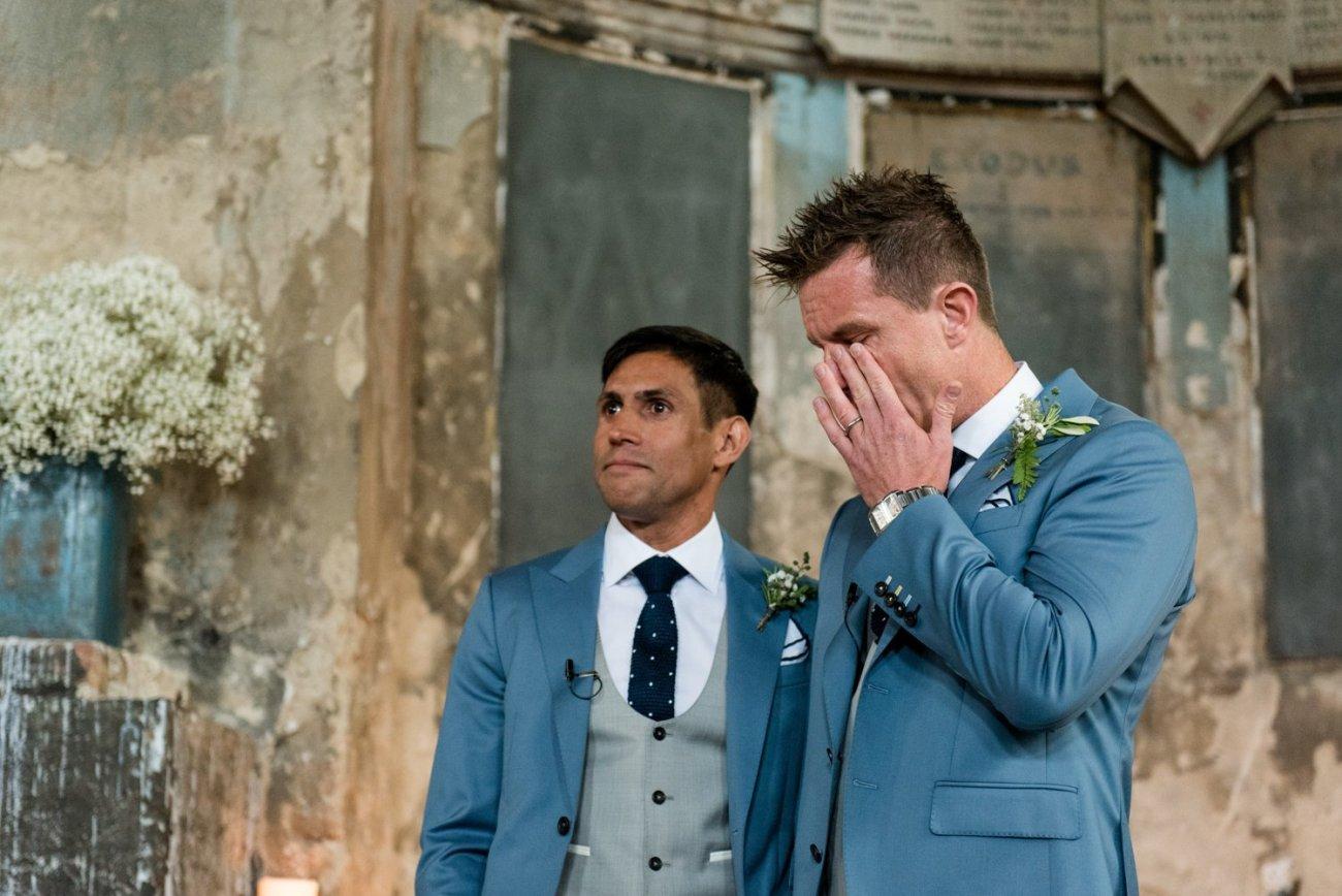 Story telling wedding photography same sex warehouse London wedding