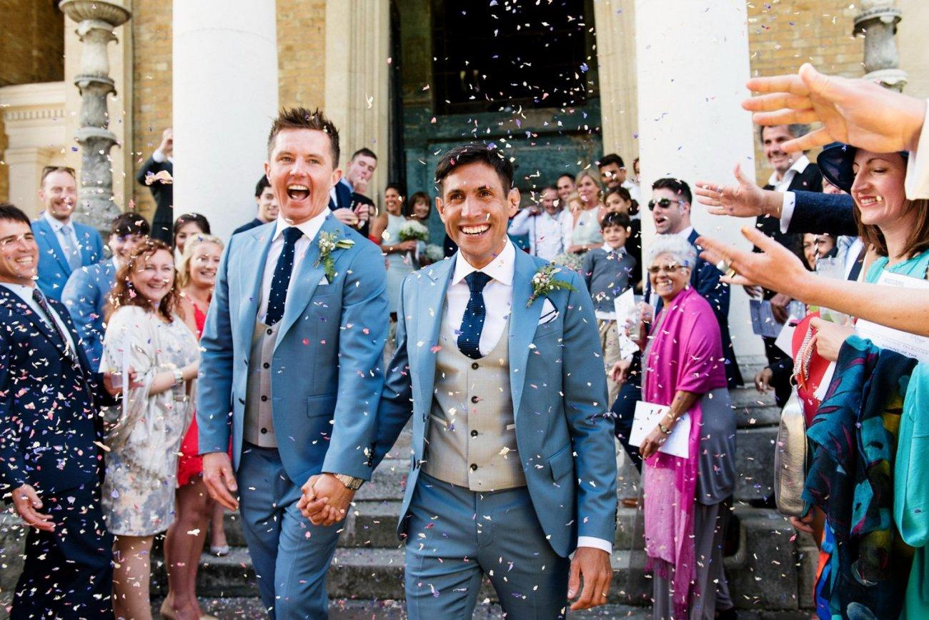 Magical confetti moment at same sex wedding London