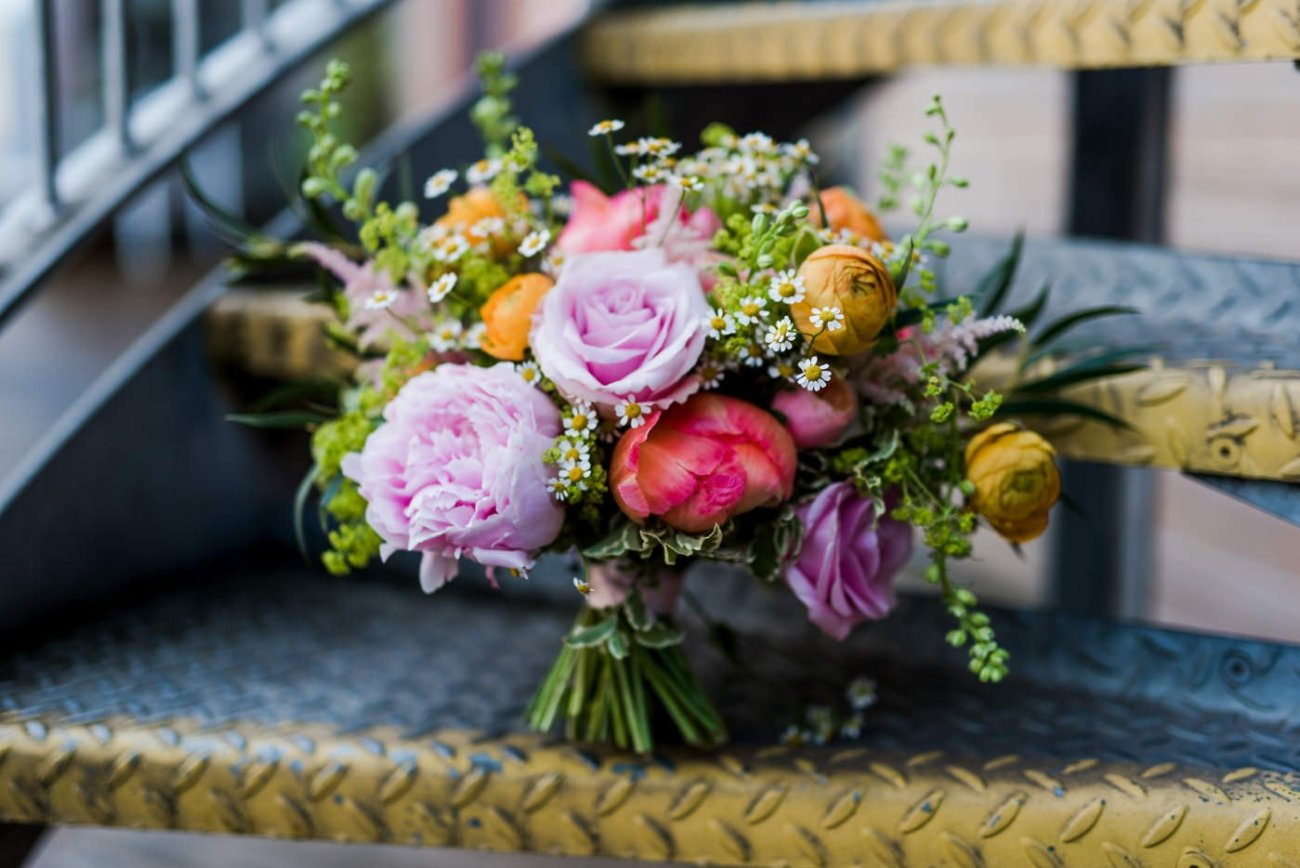 the rose shed peony bouquet paintworks wedding photographer