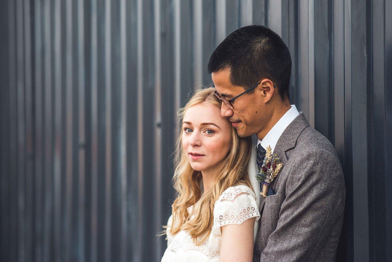 Bride and groom in streets around Loft Studios