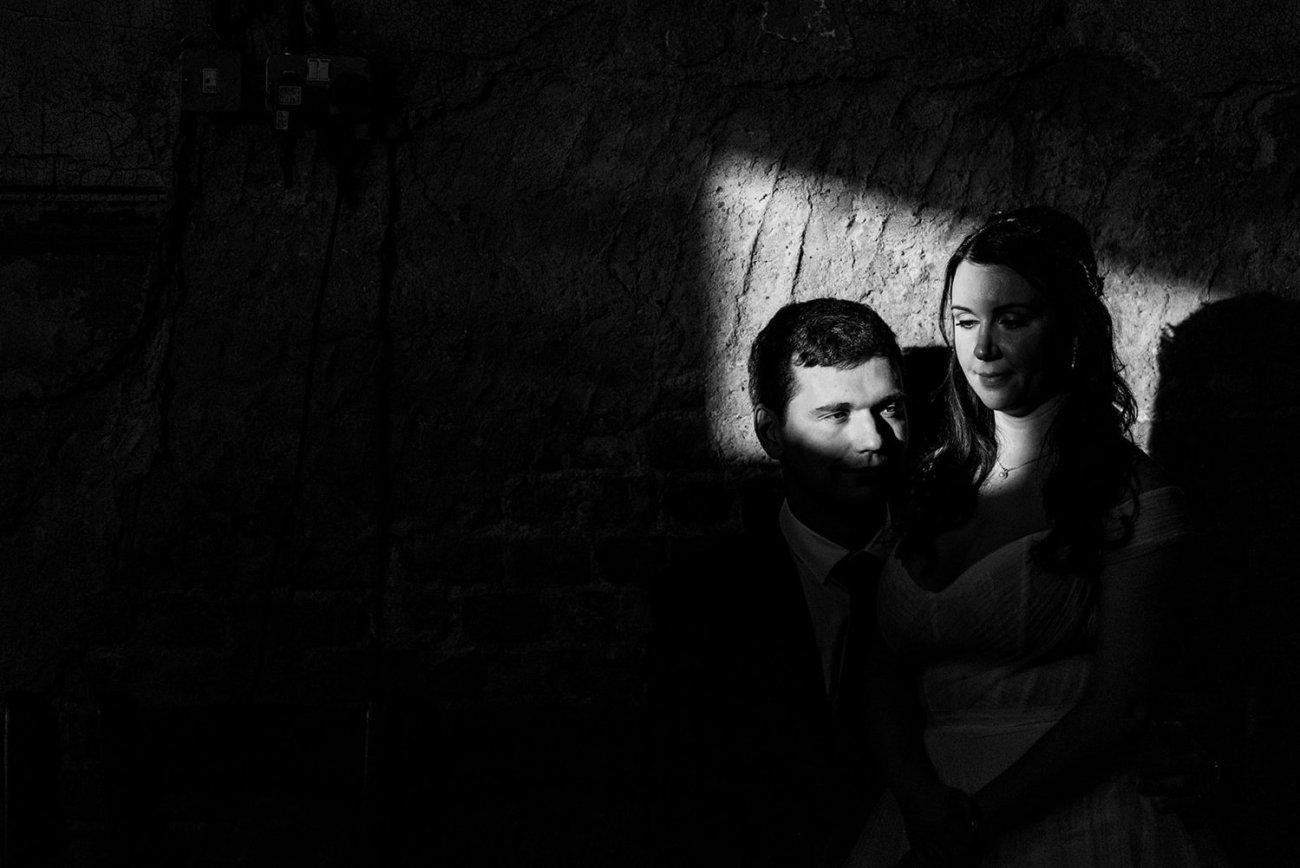Asylum Chapel wedding portrait in black and white