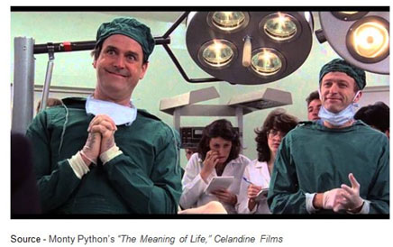 """""""Remember when you're feeling very small and insecure / how amazingly unlikely is your birth / and pray that there intelligent life somewhere up in space / 'cause there's bugger all down here on Earth."""" – Monty Python's """"The Meaning of Life,"""" Celandine Films, 1983"""