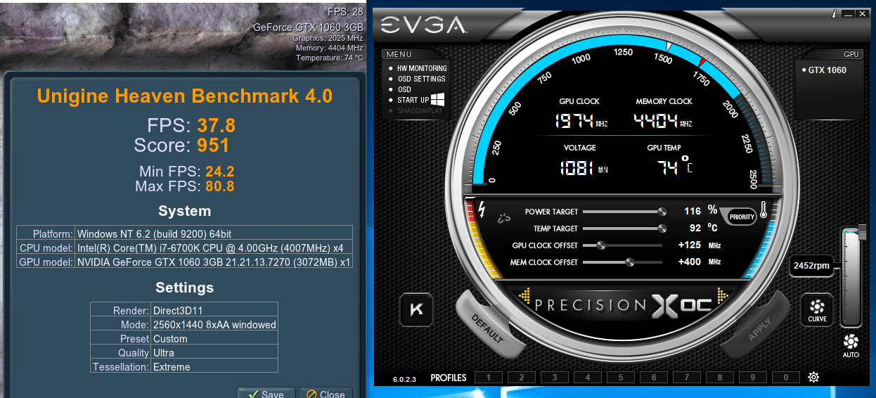 Overclocking Showdown - the EVGA GTX 1060 3GB vs  the Red