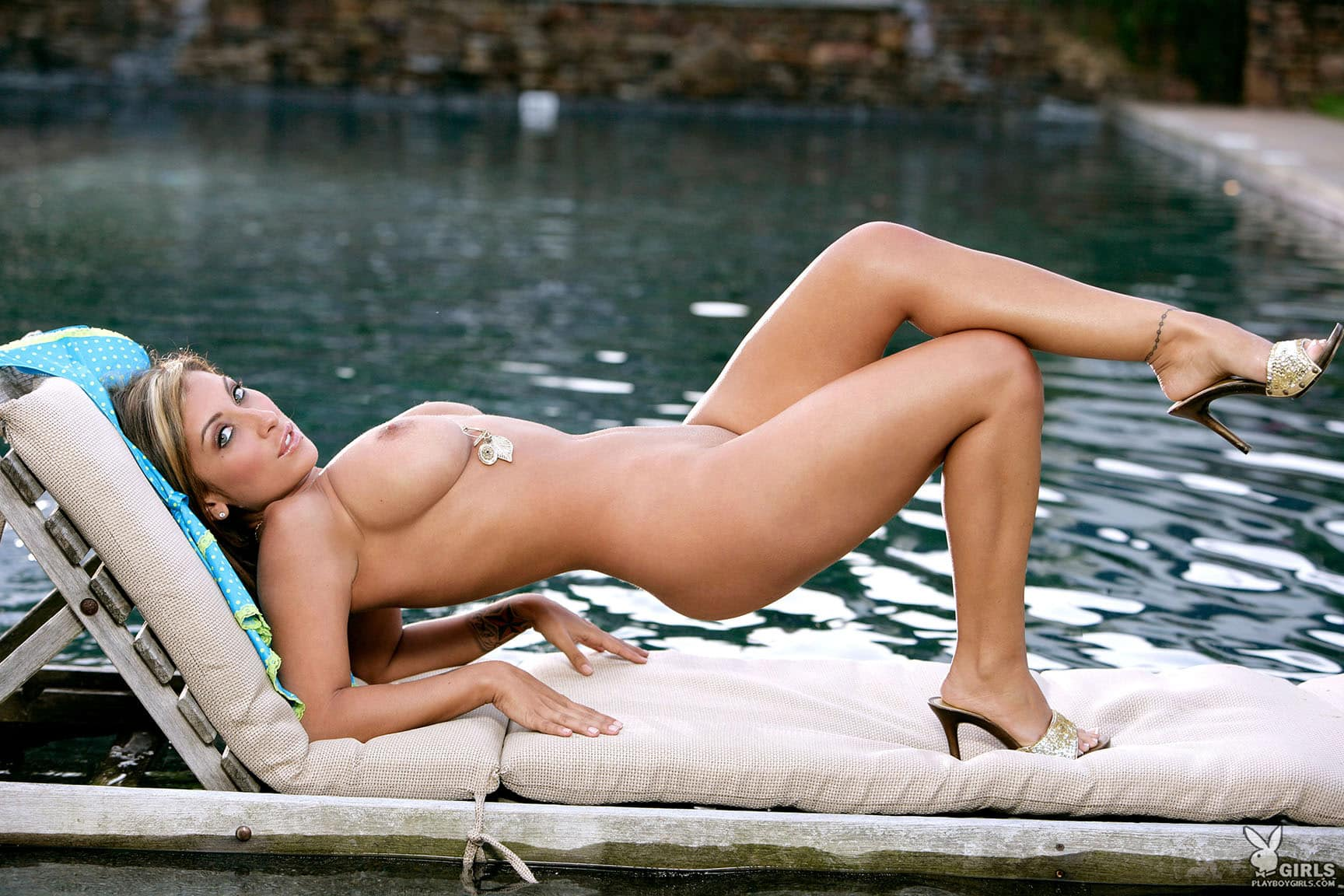 Jessica Canizales stripping lightblue outfit by pool