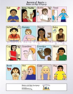 Image of baby signing poster showing illustrated toddlers different signs for colors this sign language chart also general teach your to rh babies and