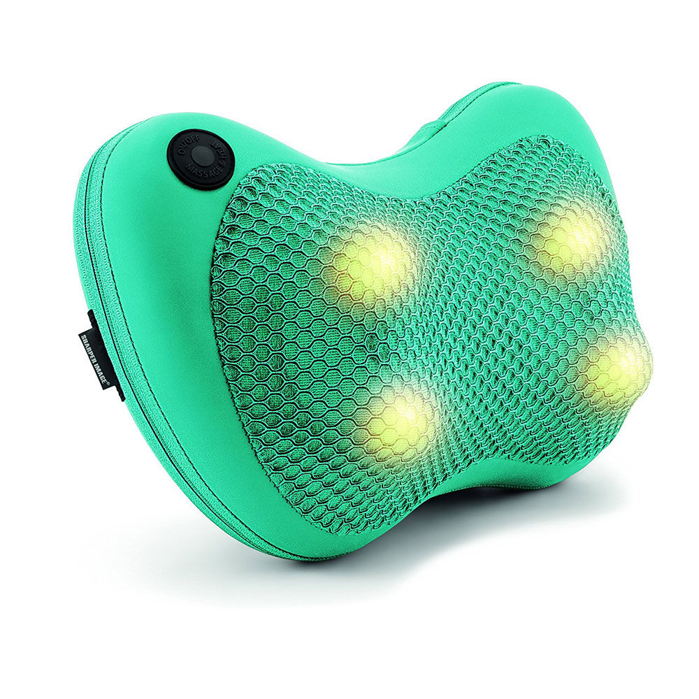 sharper image shiatsu and heat massage pillow green