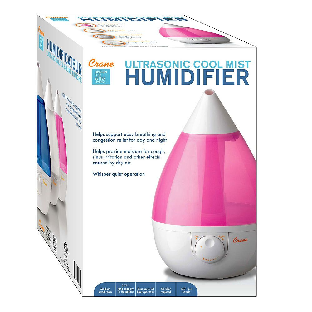 Crane Drop Shape Ultrasonic Cool Mist Humidifier Pink Babies R Us Canada