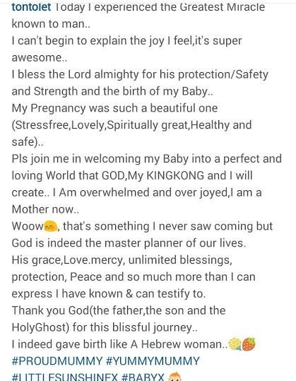 Tonto Dikeh & Husband Churchill Welcome Babyboy