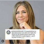 Jennifer Aniston's Instagram debut earns her Guinness World records