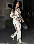Rihanna spotted leaving music studio in tie-dye outfit