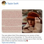 """Taylor Swift will be releasing her version of """"Red"""""""
