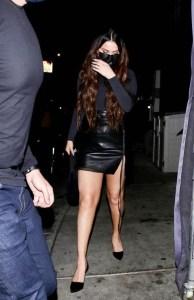 Selena Gomez in leather mini-skirt
