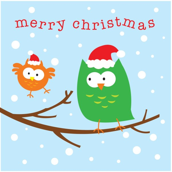 Babipur Owls Happy Christmas Card