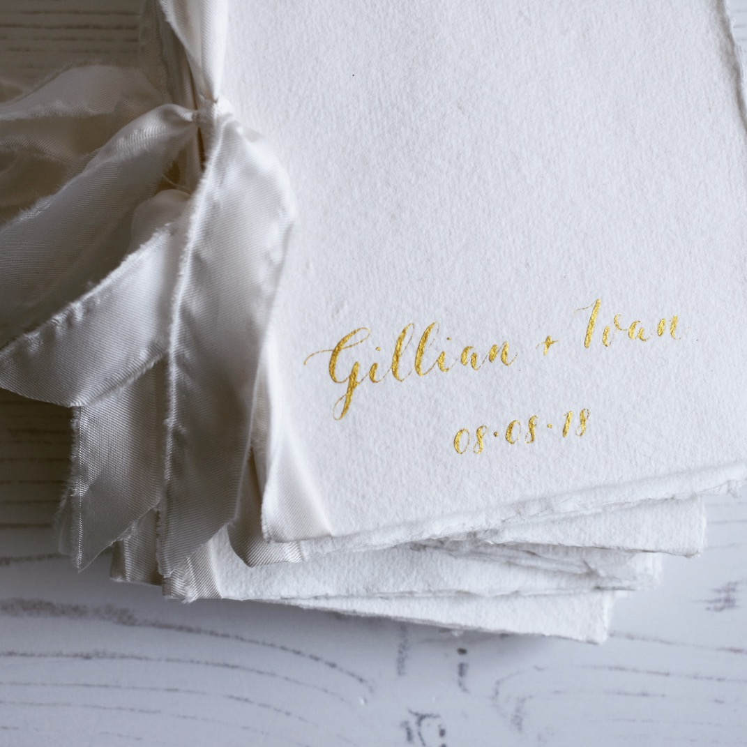 Gold Calligraphy Order of Service booklets handmade paper