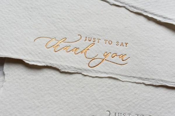 Copper foil on handmade paper thank you cards