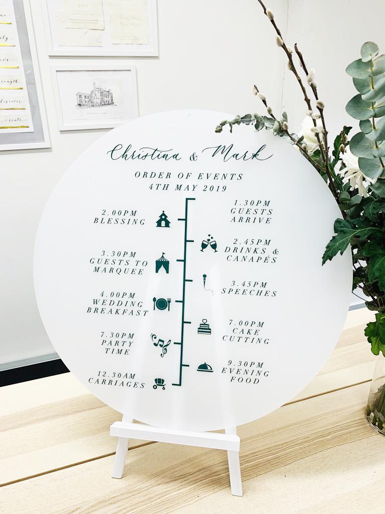 Acrylic Disc Wedding Sign Timeline of Wedding Day