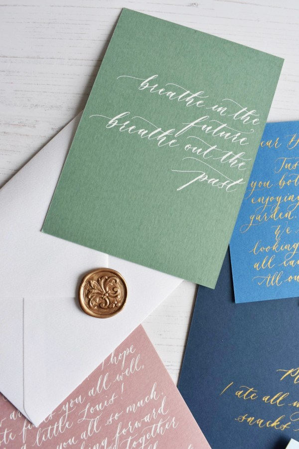Matcha green personalised handwritten note with white calligraphy ink